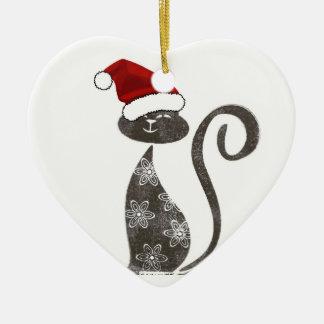 Santa Loves Kitties Ornament Heart