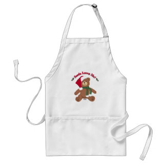 Santa Loves Me! Christmas Teddy Bear Apron