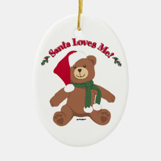 Santa Loves Me! Christmas Teddy Bear Christmas Ornament