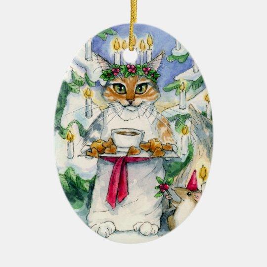 Santa Lucia Christmas Cat ornament