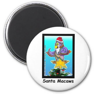 Santa Macaws Funny Christmas Gifts & Tees 6 Cm Round Magnet