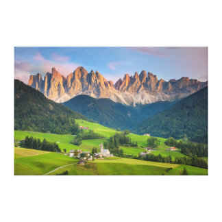 Santa Maddelena and The Dolomites in Val di Funes Canvas Print