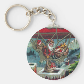 Santa Makes Deliveries From Dirigible Basic Round Button Key Ring