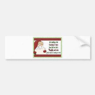 Santa making a list- christmas bumper sticker