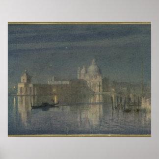 Santa Maria Della Salute, Venice, Moonlight, 1863 Poster