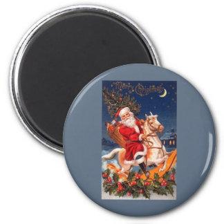 Santa Merry Christmas 6 Cm Round Magnet