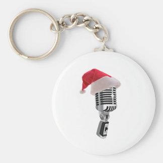 santa microphone basic round button key ring