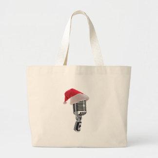 santa microphone large tote bag