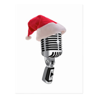 santa microphone postcard