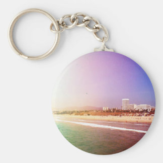 Santa Monica Beach - Green Purple Photo Edit Basic Round Button Key Ring