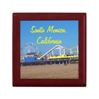 Santa Monica Beach Pier Small Square Gift Box