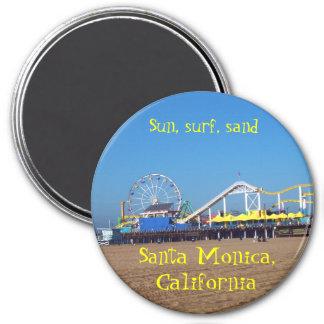 Santa Monica Beach Roller Coaster,  California Pie 7.5 Cm Round Magnet