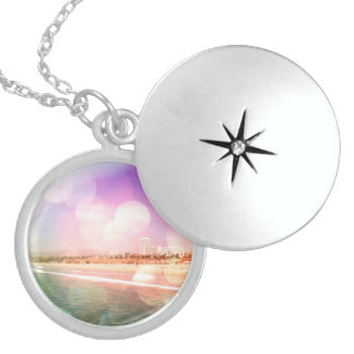 Santa Monica Beach - Sparkling Pink Photo Edit Sterling Silver Necklace