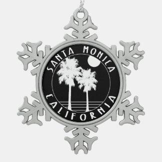 Santa Monica California Snowflake Pewter Christmas Ornament