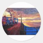 Santa Monica Pier At Dawn Round Sticker