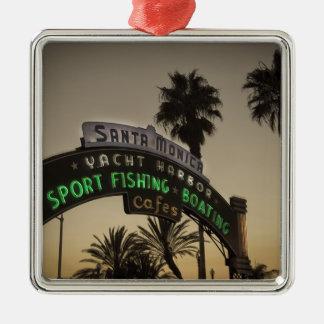 Santa Monica pier Christmas Ornament