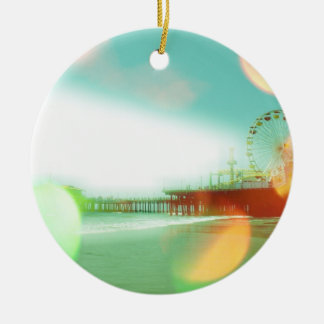 Santa Monica Pier Green Orange Sparkles Edit Christmas Ornament