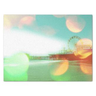 Santa Monica Pier Green Orange Sparkles Tissue Paper