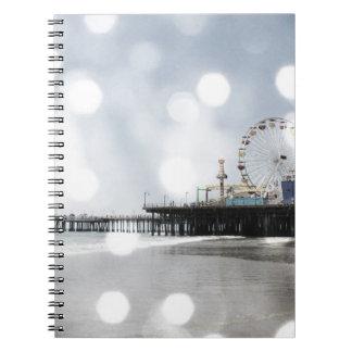Santa Monica Pier - Grey Sparkles Photo Edit Notebooks