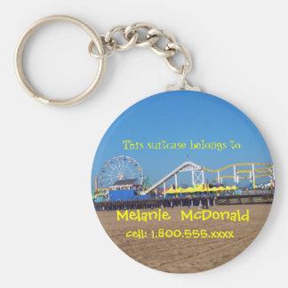 Santa Monica Pier Luggage Tag Basic Round Button Key Ring