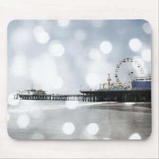 Santa Monica Pier - Silver Grey Sparkles Photo Edi Mouse Mat