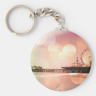 Santa Monica Pier - Sparkling Pink Photo Edit Basic Round Button Key Ring