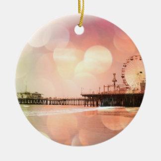 Santa Monica Pier - Sparkling Pink Photo Edit Christmas Ornament