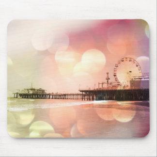 Santa Monica Pier - Sparkling Pink Photo Edit Mouse Mat