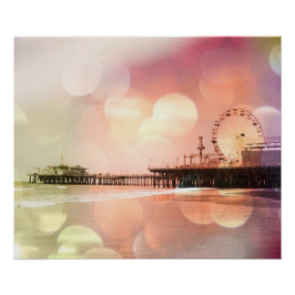 Santa Monica Pier Sparkling Pink Photo Edit Poster