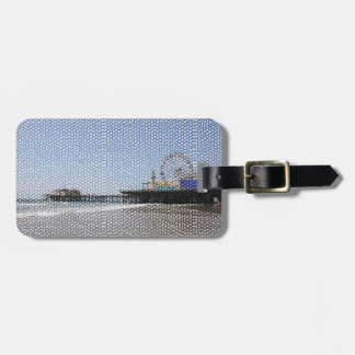 Santa Monica Pier - Stone Mosaic Photo Edit Luggage Tag