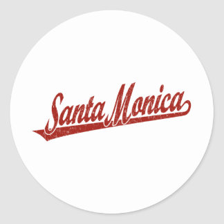 Santa Monica script logo in red distressed Round Sticker