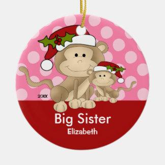 Santa Monkey Big Sister Christmas Ornament