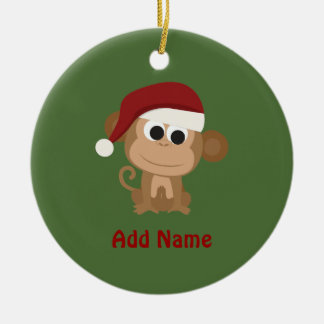 Santa Monkey Christmas Ornament