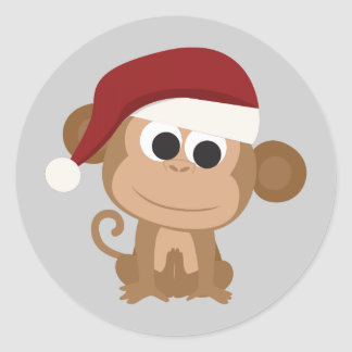 Santa Monkey Round Sticker