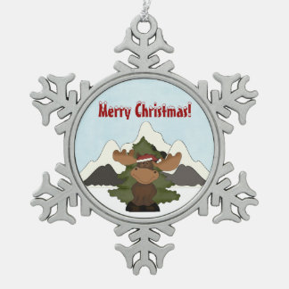 Santa Moose Mountain Snoflake Christmas Ornament