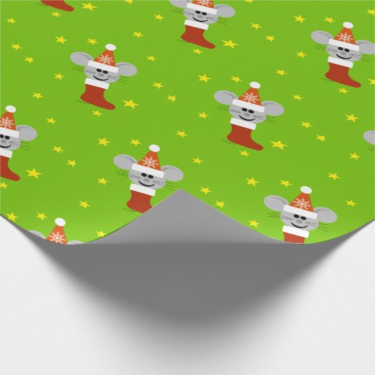 Santa Mouse Kids Christmas Wrapping Paper