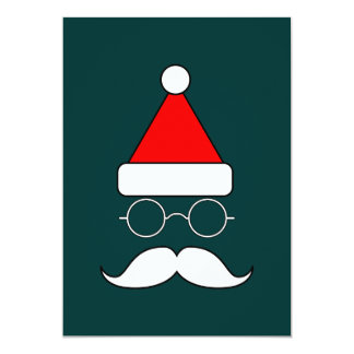 Santa Moustache and Glasses 13 Cm X 18 Cm Invitation Card