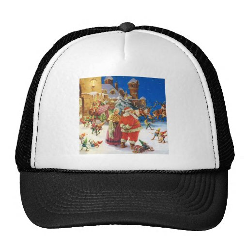 SANTA & MRS. CLAUS AT THE NORTH POLE CASTLE TRUCKER HATS