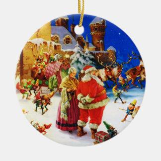 Santa & Mrs. Claus At the North Pole Christmas Eve Christmas Ornament