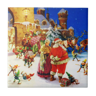Santa & Mrs. Claus at the North Pole Christmas Eve Small Square Tile