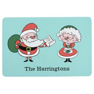 Santa & Mrs. Claus custom name floor mat
