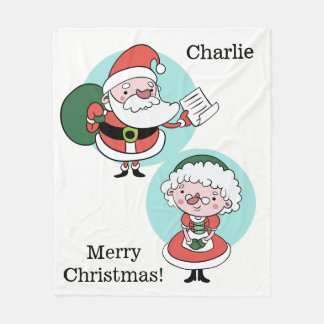 Santa & Mrs. Claus custom text fleece blankets