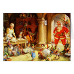 Santa & Mrs. Claus & the Elves Bake Cookies Greeting Cards