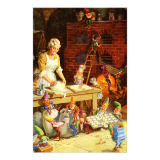 Santa & Mrs. Claus & the Elves Bake Cookies Customised Stationery