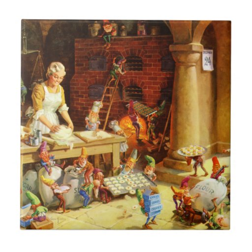 Santa & Mrs. Claus & the Elves Bake Cookies Ceramic Tiles