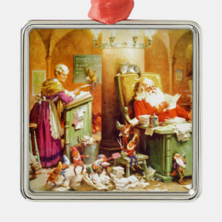 Santa & Mrs. Claus & the Elves Check His List Silver-Colored Square Decoration