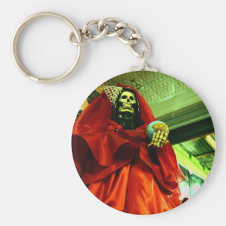 Santa Muerte Basic Round Button Key Ring