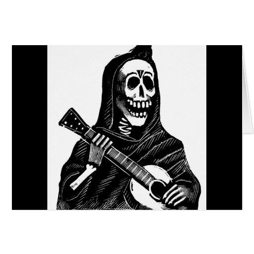 santa muerte mexican grim reaper playing guitar cards