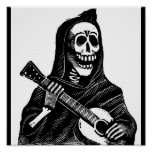 Santa Muerte with Guitar circa early 1900s Poster