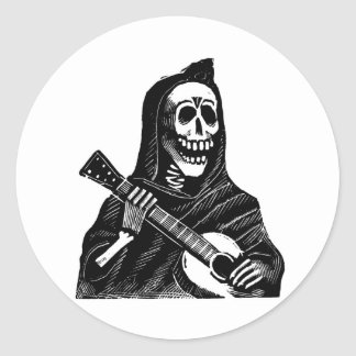 Santa Muerte with Guitar circa early 1900s Round Stickers